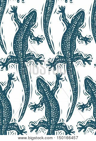 Vector lizards wrapping paper seamless pattern with reptiles art zoology backdrop. Stylized lizards top view.