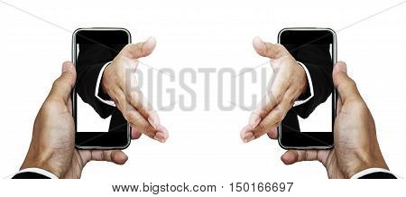 Businessman hand using smartphone with hand reaching out from screen with copy space, isolated on white background