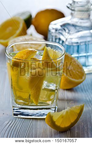 Gin With Tonic , Lemon And Ice