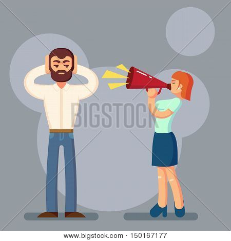 Negative emotions concept. People in fight. Husband and wife arguing and yelling on each other. Expressive and emotional couple having argument. Vector Illustration eps10