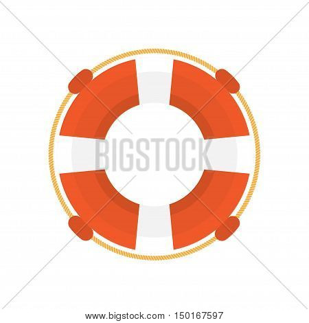 Lifebuoy flat design illustration, isolated on a white background, vector illustration