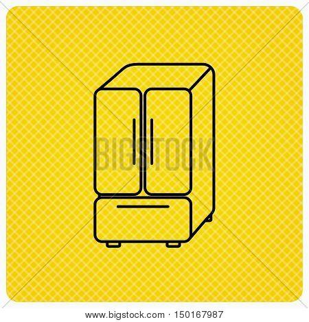 American fridge icon. Refrigerator sign. Linear icon on orange background. Vector