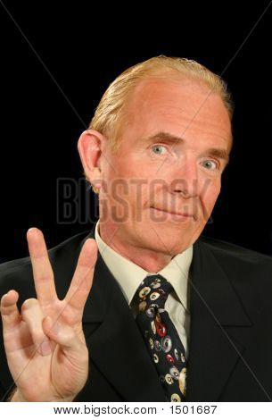 Peace Sign Businessman