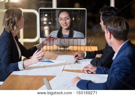 Business team having video conference in the conference room