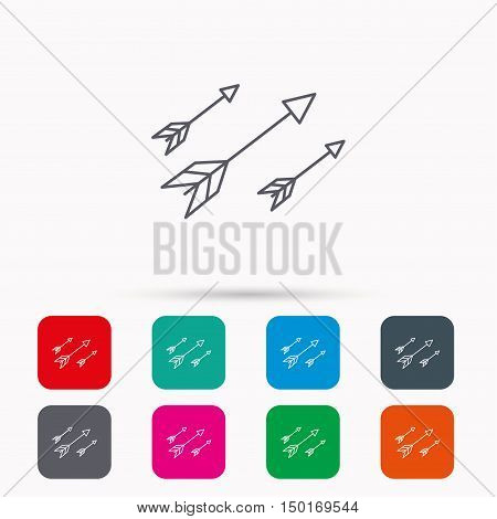 Bow arrows icon. Hunting sport equipment sign. Archer weapon symbol. Linear icons in squares on white background. Flat web symbols. Vector