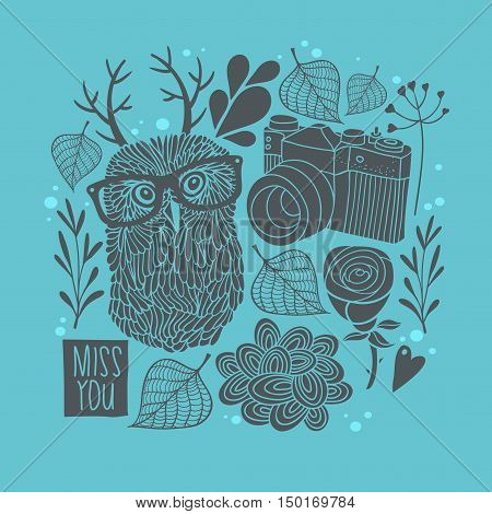 Owl in eyeglasses with horns fall background. Vector card cover.
