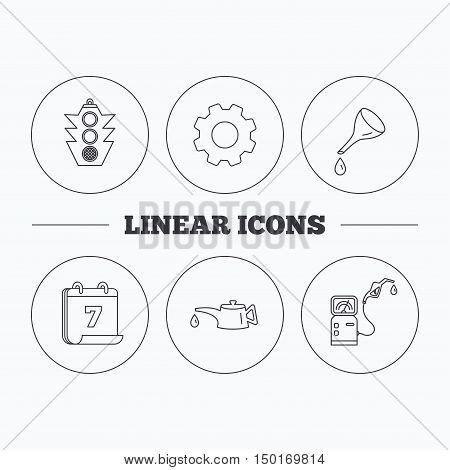 Motor oil change, traffic lights and gas station icons. Petrol station linear sign. Flat cogwheel and calendar symbols. Linear icons in circle buttons. Vector