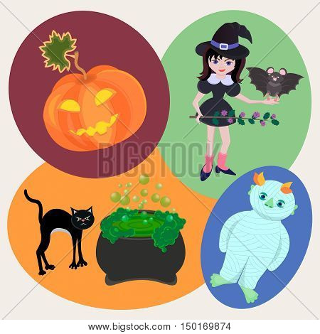 Pumpkin witch with a bat and a sprig of thistle a mummy a cat and a boiling pot