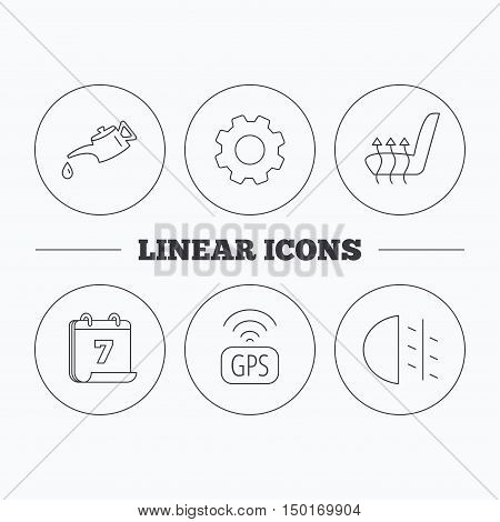 Motor oil, passing fog lights and gps icons. Heated seats linear sign. Flat cogwheel and calendar symbols. Linear icons in circle buttons. Vector