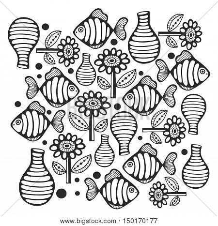 Black and white page with fish and flowers. Vector illustration for coloring and meditation.