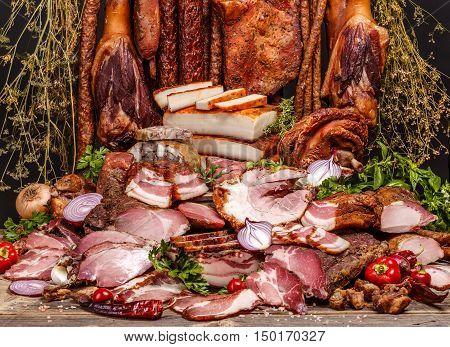 Still life of several delicatessen meats, studio shot