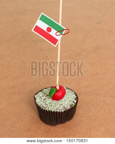 niger flag on a apple cupcakepicture of a