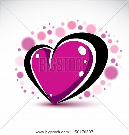 Love And Romance Symbolic Object, Dimensional Purple Heart Decorated With Transparent Bubbles. Vecto