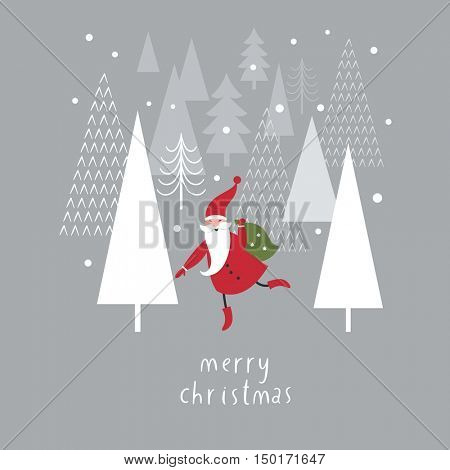 Christmas card with Santa, vector illustration
