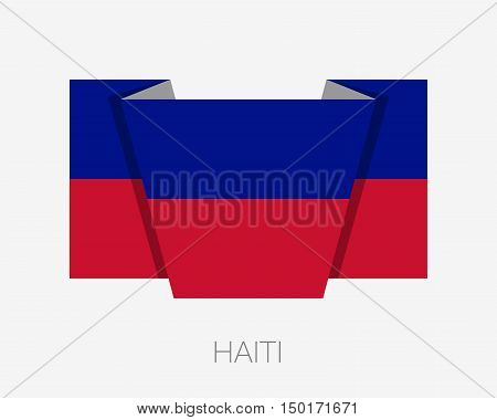Flag Of Haiti. Flat Icon Wavering Flag With Country Name
