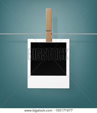 Vector Set of Wooden Clothespins Pegs whith Blank Retro Photo Frames on Rope  Close up Isolated on Background