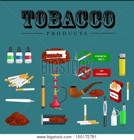 Smoking tobacco decorative icons set with cigarettes hookah cigars  lighter on brown background isolated vector illustration