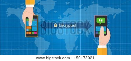 encrypted message communication smart phone mobile security messaging platform vector