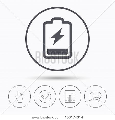 Battery power icon. Charging accumulator symbol. Chat speech bubbles. Check tick, report chart and hand click. Linear icons. Vector