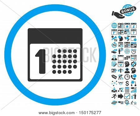 First Day pictograph with bonus calendar and time management pictogram. Vector illustration style is flat iconic bicolor symbols, blue and gray colors, white background.