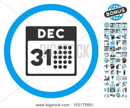 Last Year Day icon with bonus calendar and time management images. Vector illustration style is flat iconic bicolor symbols, blue and gray colors, white background.
