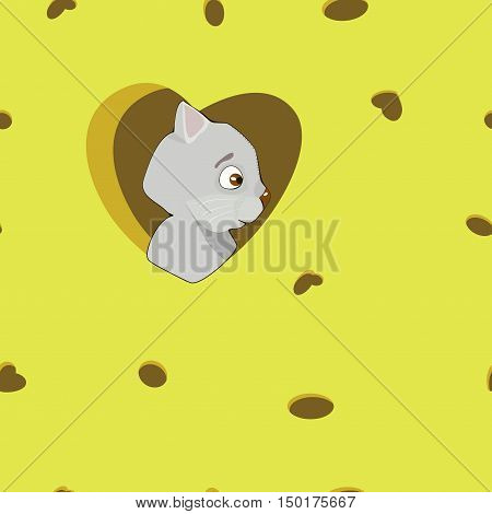 Cartoon grey cat in the heart on cheese background. illustration