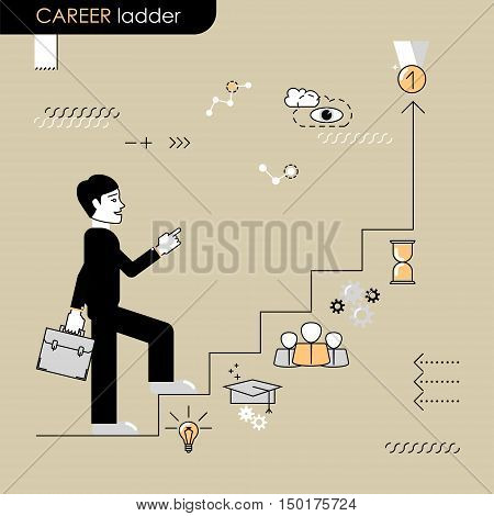 Career ladder. Concept move up the career ladder. Stages of transition to another stage. Vector flat line