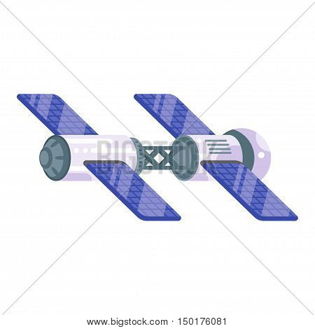 Vector flat style illustration of space station with solar cells. Isolated on white background.
