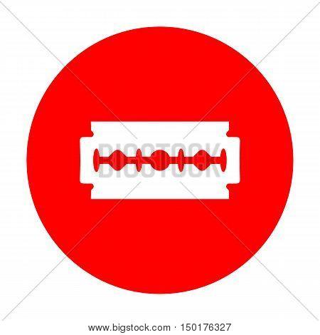 Razor Blade Sign. White Icon On Red Circle.