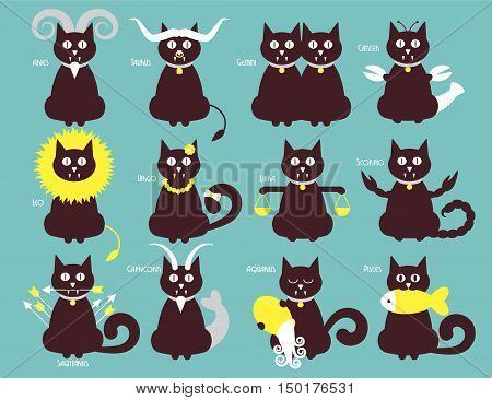 Cat zodiac icons vector flat design astronomy illustration