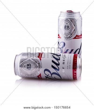 PETROPAVLOVSK-KAMCHATSKY KAMCHATKA- OCT 25 2016 : Two Metal Bottle of Budweiser Beer on a white background.