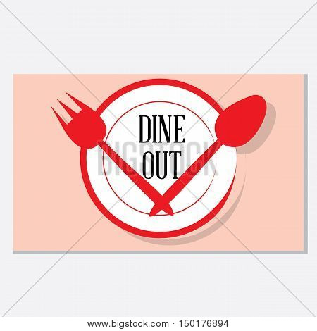 A clean and trendy combination of crockery items -Dining out vector graphic.