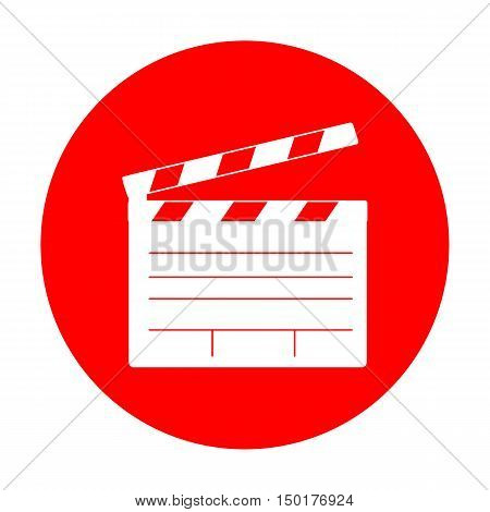 Film Clap Board Cinema Sign. White Icon On Red Circle.