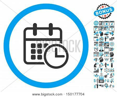 Timetable icon with bonus calendar and time management pictograph collection. Vector illustration style is flat iconic bicolor symbols, blue and gray colors, white background.