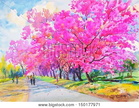 Watercolor painting original realistic colorful flower of Wild himalayan cherry and the tourist in cloud background. Original painting