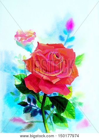 Watercolor original realistic painting red color of rose flower and emotion in blue background
