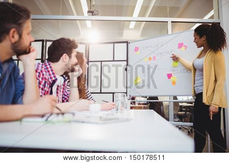 Young female executive explaining colleagues at creative office