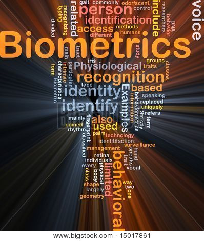 Software package box Word cloud concept illustration of biometrics recognition