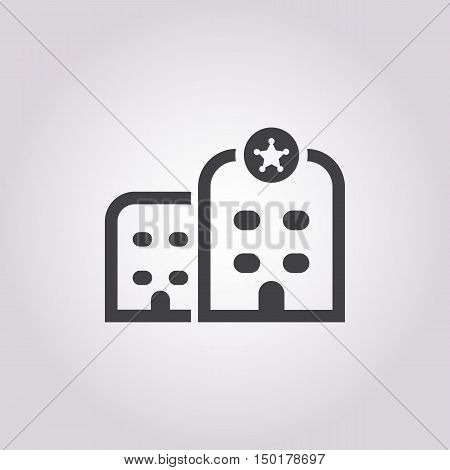 police station icon on white background for web
