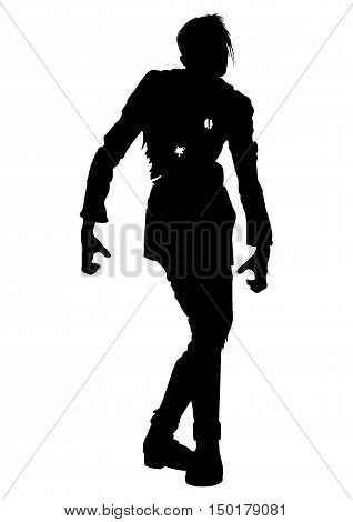 Illustration zombie man mutilated with bullet holes