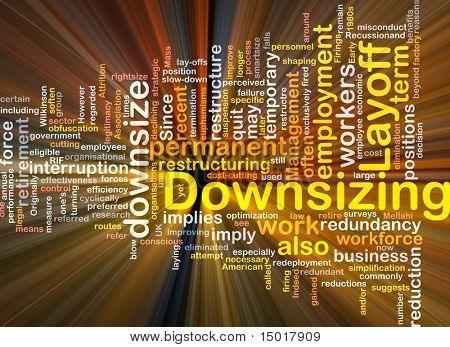 Software package box Word cloud concept illustration of downsizing restructuring