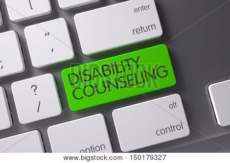 Concept of Disability Counseling, with Disability Counseling on Green Enter Keypad on Modernized Keyboard. 3D Illustration.