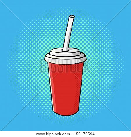 Vector hand drawn pop art illustration of soda cup. Fast food. Retro style. Hand drawn sign. Illustration for print, web.