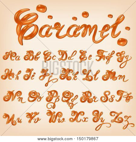 Vector melted caramel candies, square, toffee, sauce alphabet. Shiny glazed letters liquid. Font style. Glossy typescript design.