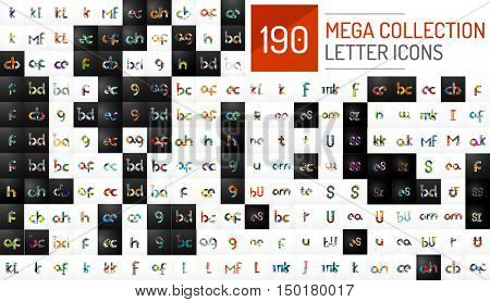 Mega collection of 190 initial letter logo icons. Modern abstract geometric minimal linear design