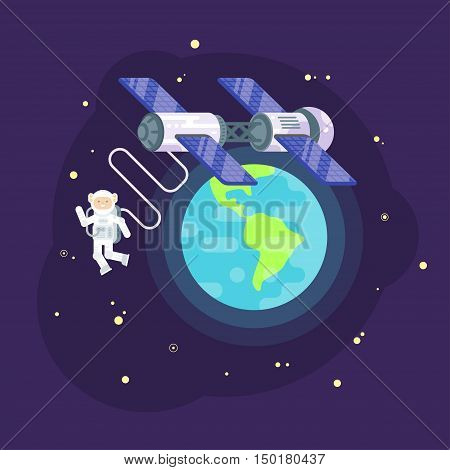 Vector flat style illustration of space station and astronaut in outer space. Spaceman orbiting the Earth.