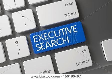 Executive Search Concept: Metallic Keyboard with Executive Search, Selected Focus on Blue Enter Button. 3D Render.