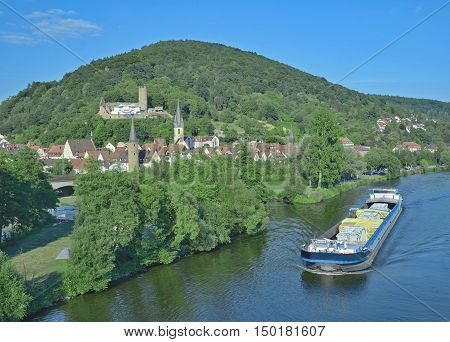 Gemuenden am Main at River Main in Spessart Nature Park,lower Franconia,Bavaria,Germany