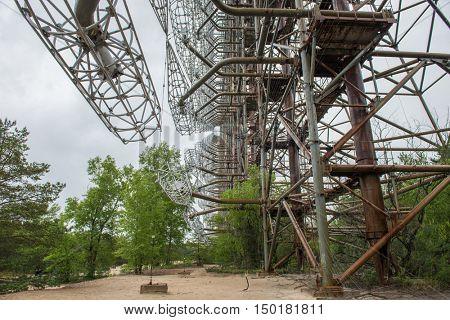 rusty abandoned radar station DUGA 3 construction near Chernobyl