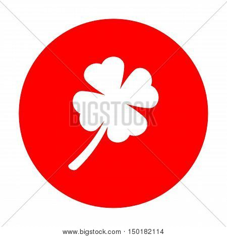 Leaf Clover Sign. White Icon On Red Circle.